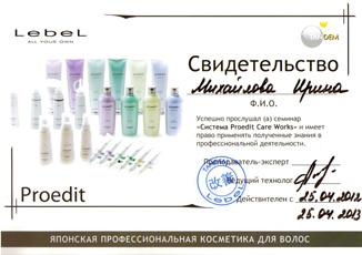 Свидетельство о прохождении семинара «Система Proedit Care Works» Михайловой Ирины 25 апреля 2012 года.