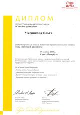 Диплом Мясниковой Ольги об участии в семинаре профессионального сервиса Wella «Волосы в движении» 7 ноября 2008 года.