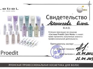 Свидетельство Мясниковой Ольги об участии в семинаре «Система Proedit Care Works» 25 апреля 2012 года.