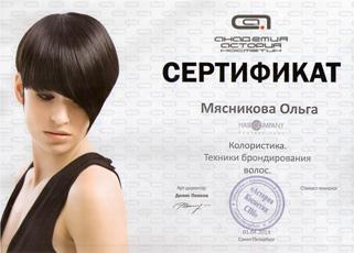 Свидетельство о прохождении семинара «Колористика. Техника блондирования волос» Мясниковой Ольги 1 апреля 2013 года.