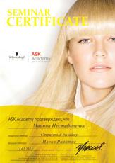 Сертификат Нестефоренко Марины о прохождении семинара «Страсть к дизайну» ASK Академии Schwarzkopf Professional 13 февраля 2013 года.