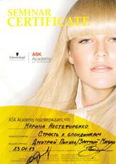 Сертификат Нестефоренко Марины о прохождении семинара «Страсть к блондинкам» ASK Академии Schwarzkopf Professional 23 января 2013 года.