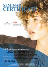 Сертификат Нестефоренко Марины о прохождении семинара «Мастерская стилиста» ASK Академии Schwarzkopf Professional 3 марта 2013 года.