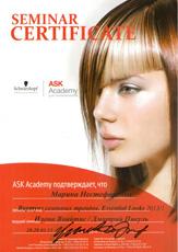 Сертификат Нестефоренко Марины о прохождении семинара «Виртуоз сезонных трендов. Essential Looks 2013/1» ASK Академии Schwarzkopf Professional 28-29 марта 2013 года.